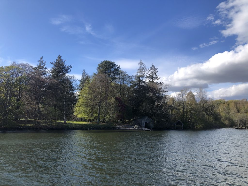 Lake Windermere with trees along the shore